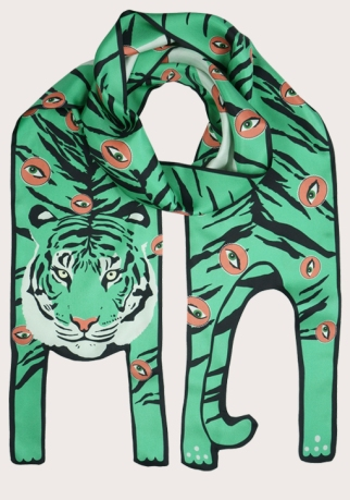 Tiger+Lover's+Eyes+2-+designer+silk+scarf