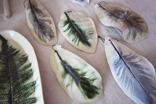 Moss Stich Ceramics Feather Decorations